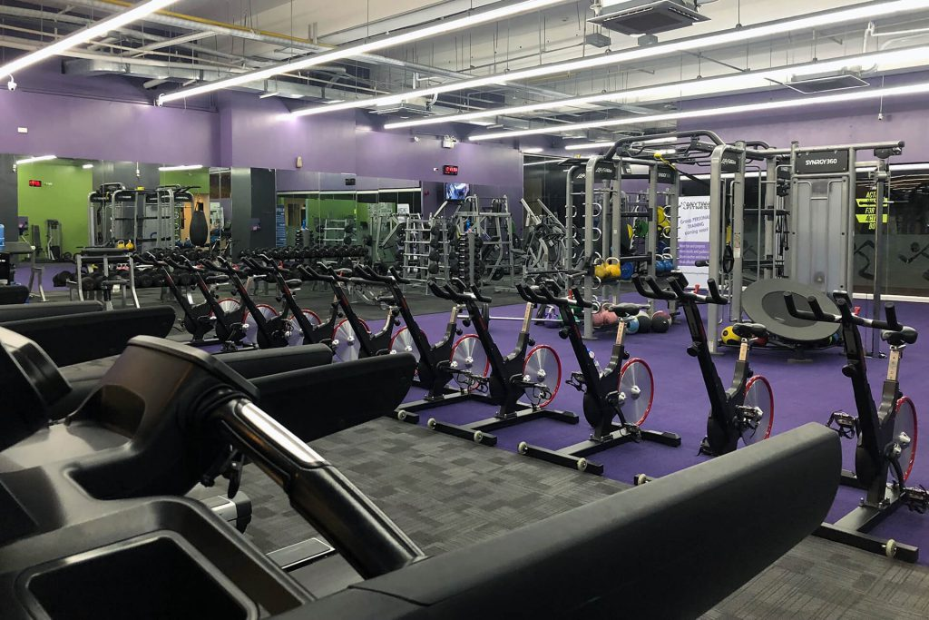 Empty Anytime Fitness gym due to the COVID pandemic.